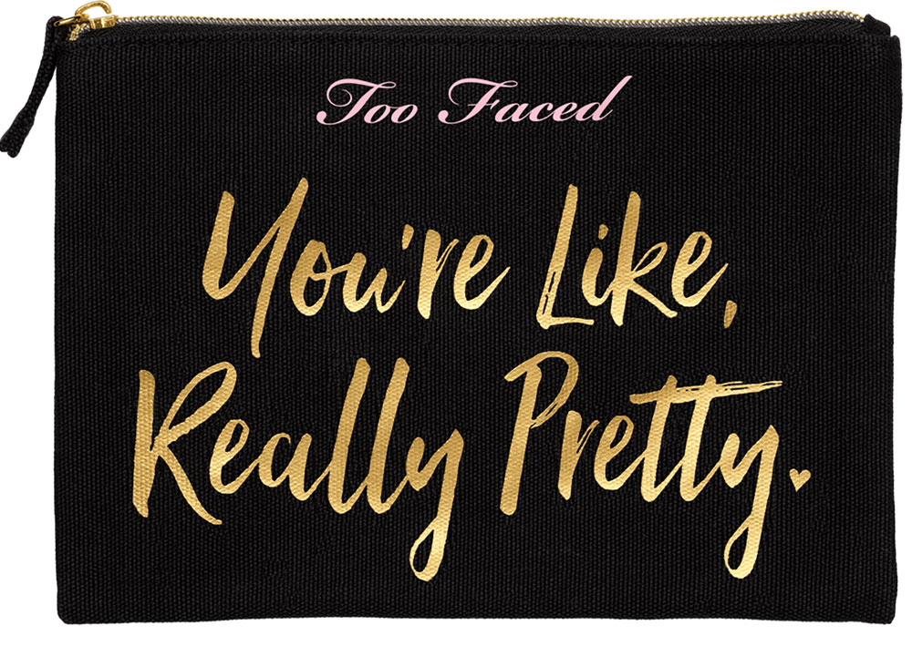 One Hot Mama set Too Faced: makeup kit with clutch bag