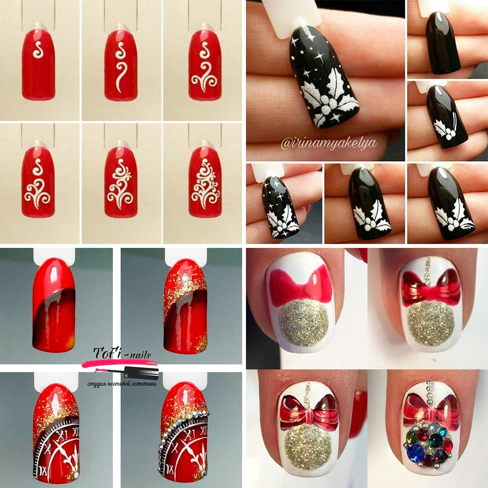 Simple tutorial Christmas nail art