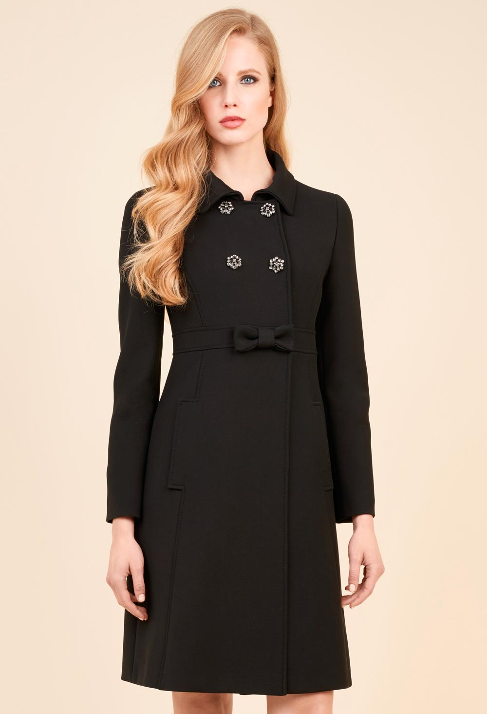 Coat with jewel buttons