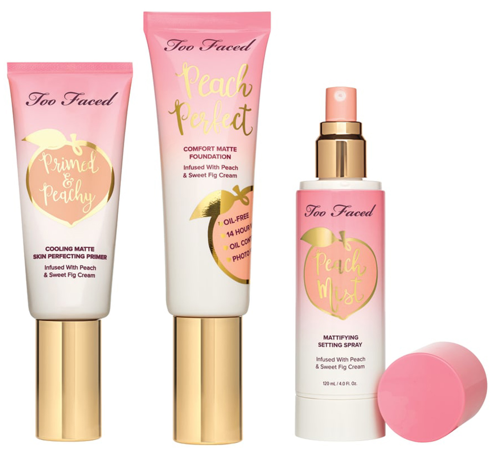 too faced primer, foundation and spray