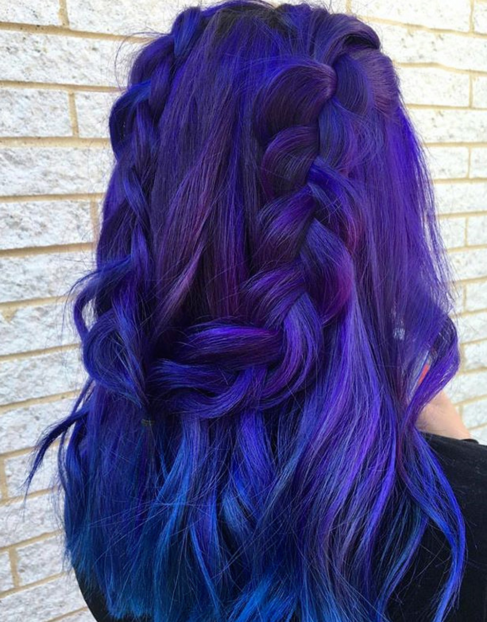 Ultra Violet feathered hair with braid