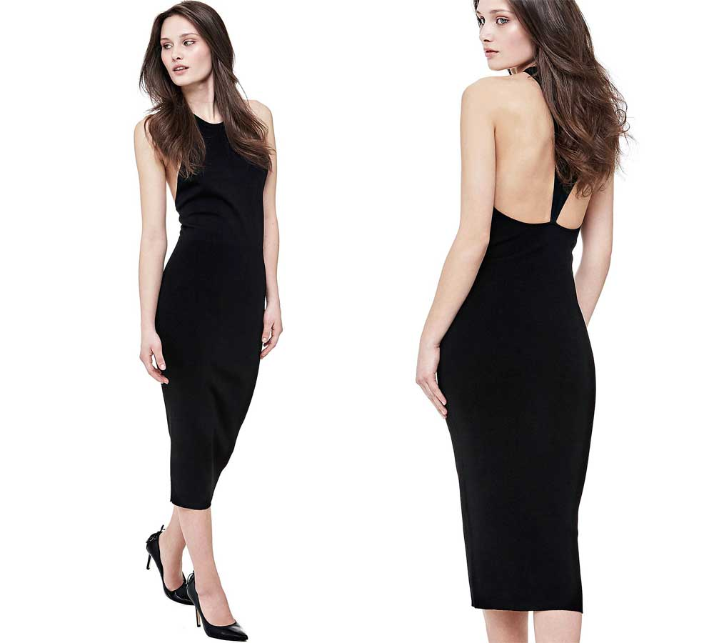 Guess long black sheath dress