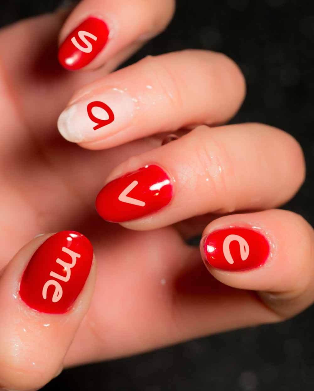 nail art with Valentine's day lettering