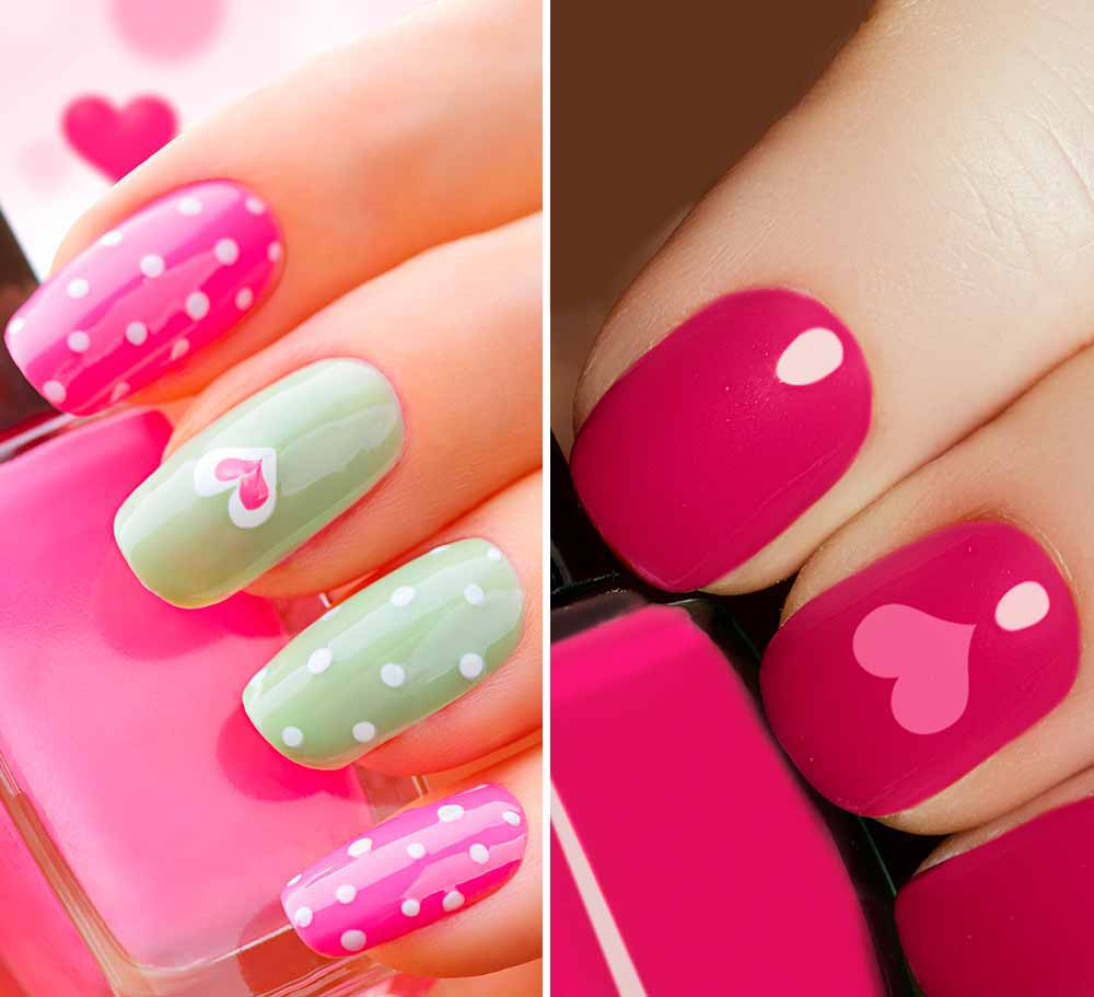 Nail art hearts Valentine's Day 2018