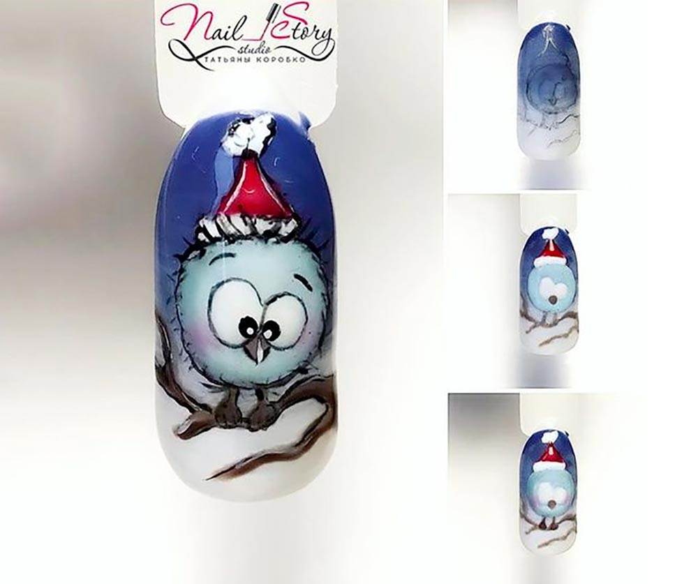 Nail art Christmas bird