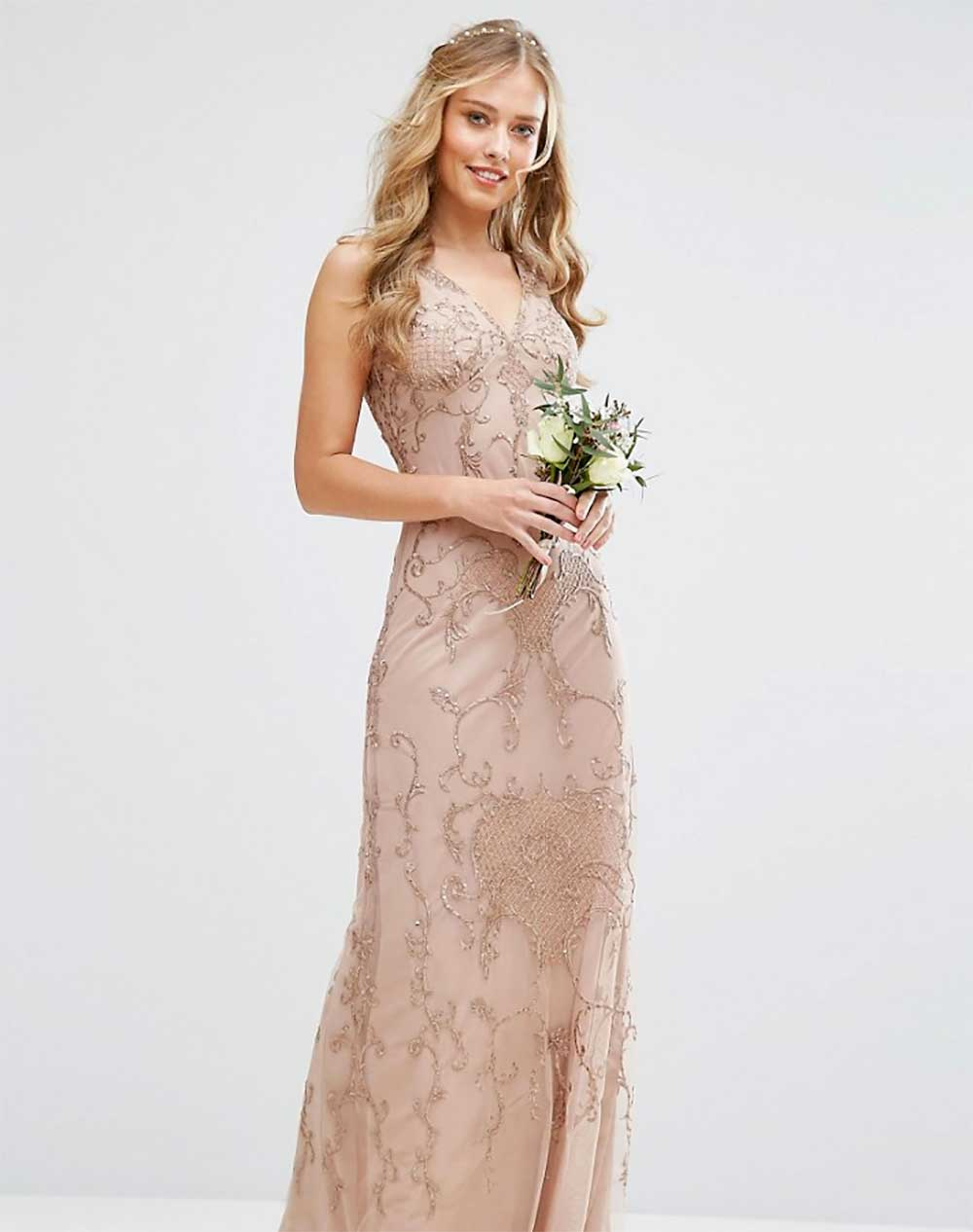 Embroidered powder ceremony dress