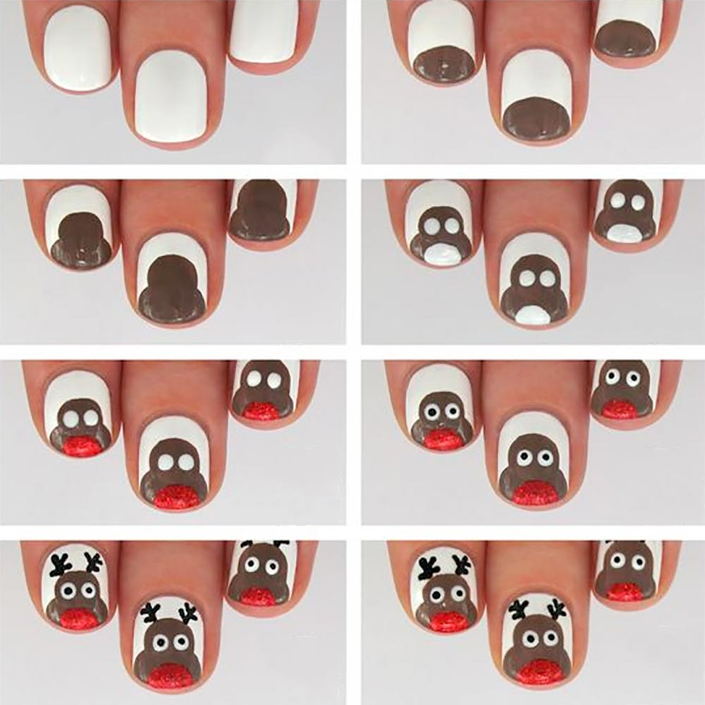 Nail art Christmas simple reindeer