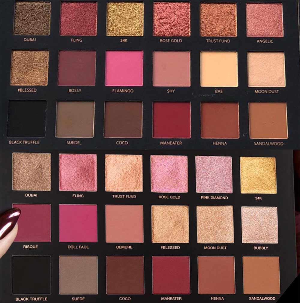 Huda Beauty Rose Gold VS Rose Gold Remastered Palette