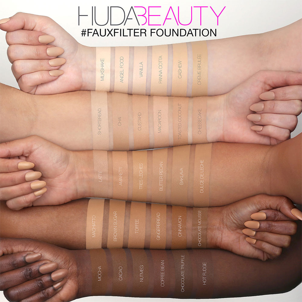 Swatches Huda Beauty Foundation FauxFilter