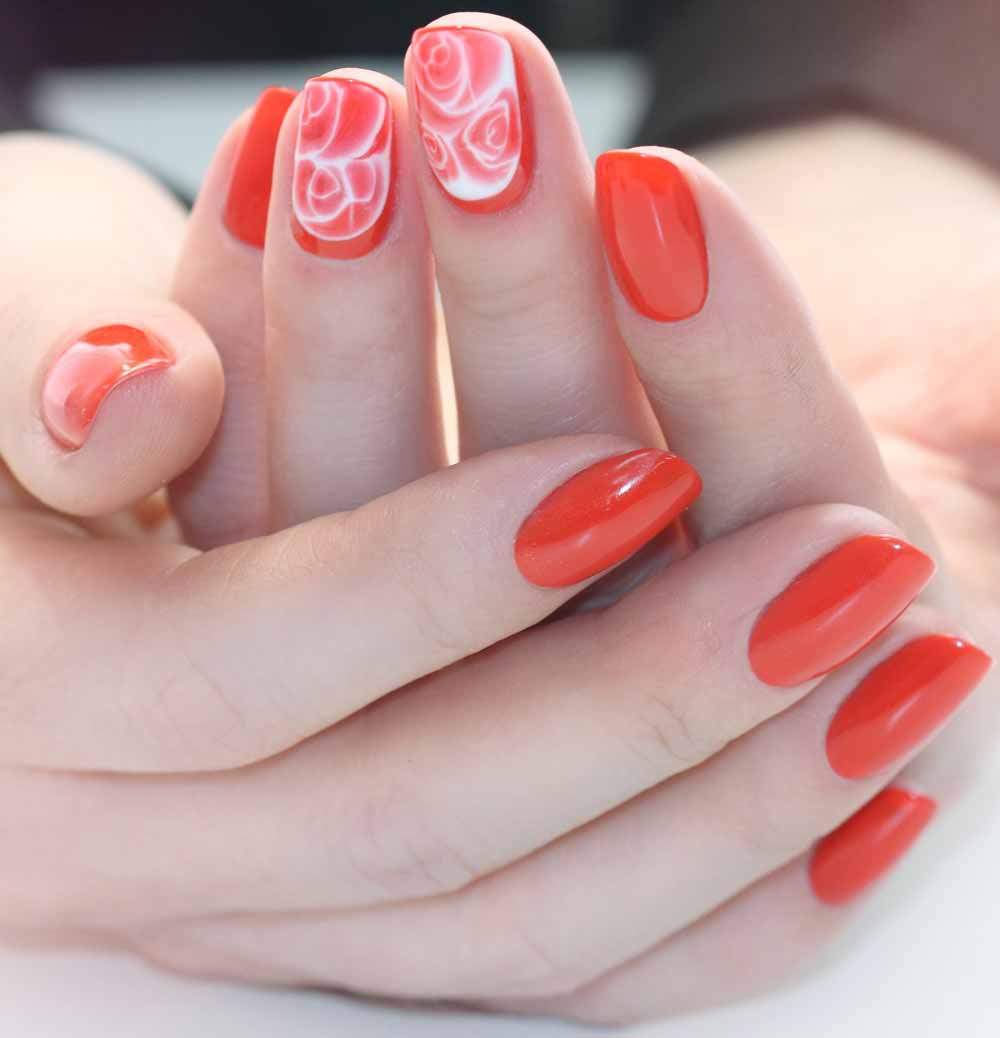 Valentine's day nail art rose