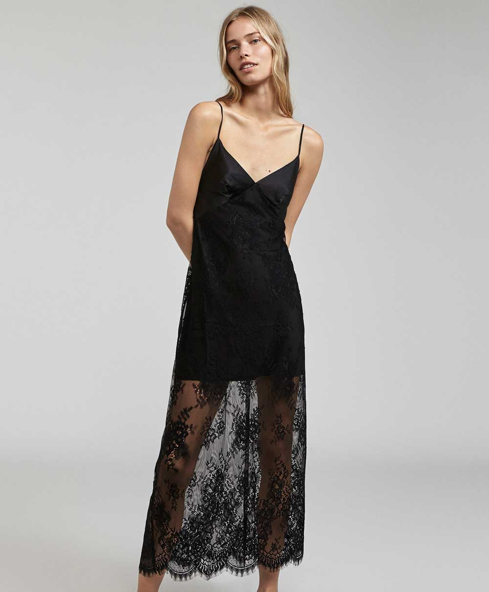 black nightgown Oysho 2018