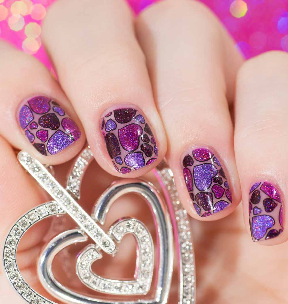 nail art purple hearts Valentine's Day