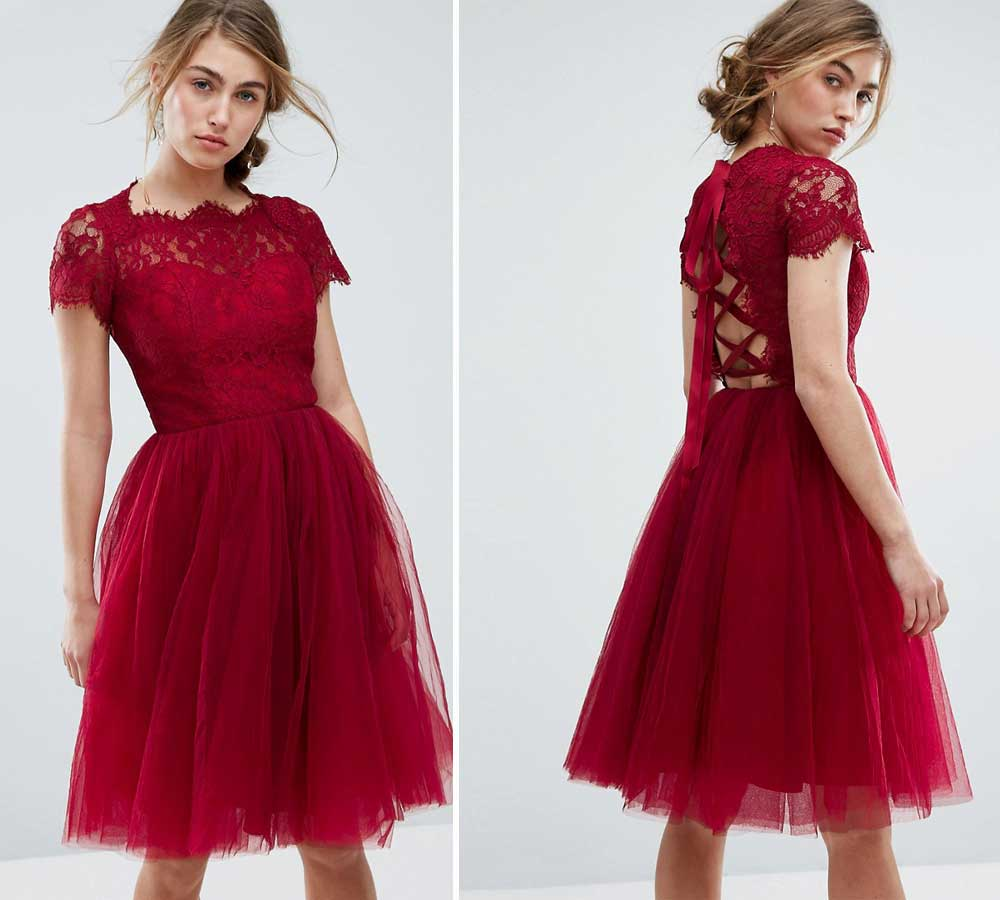 formal dress with flared skirt