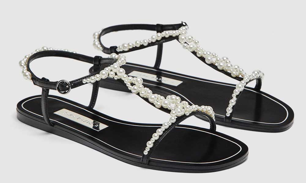 sandals with Zara pearls