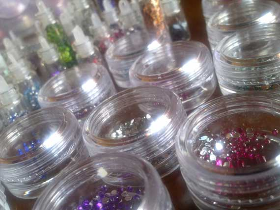 Stickers and glitter for Nail Art