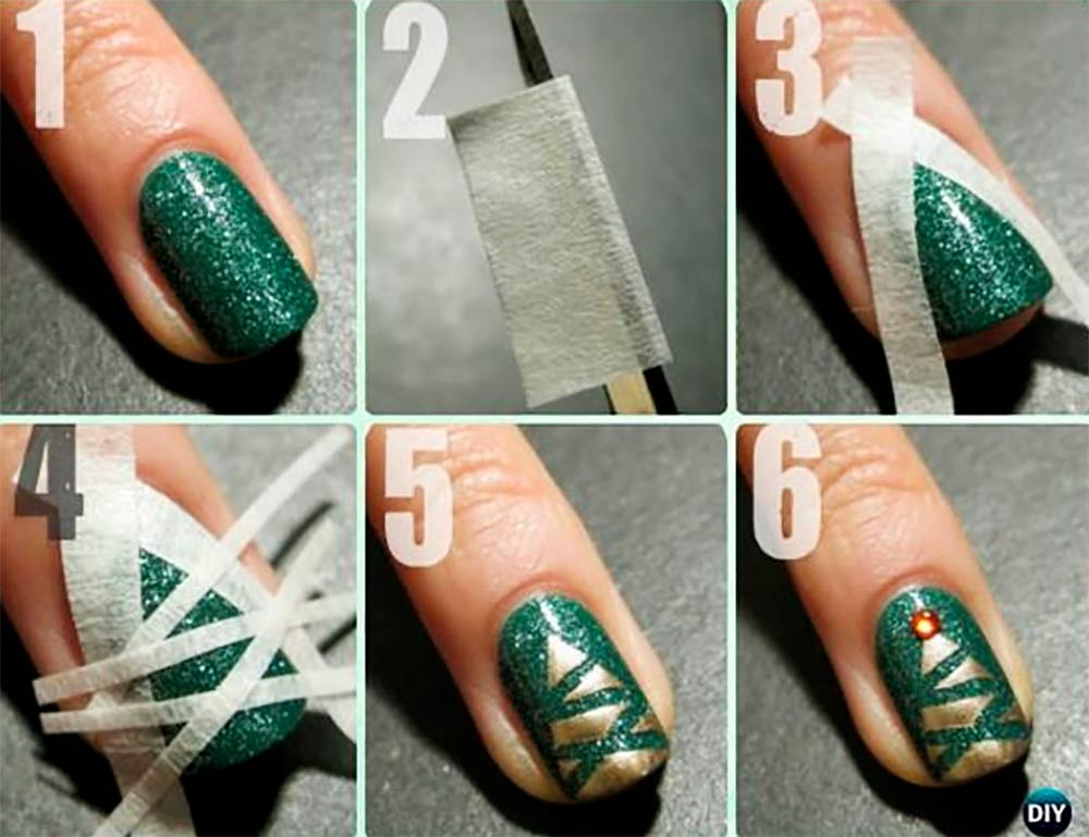 Nail art tree Christmas tutorial