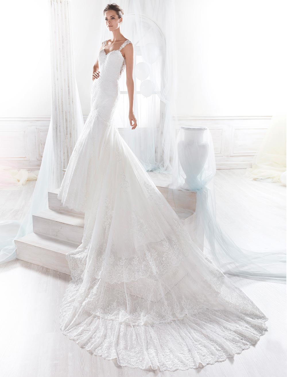 wedding dress with a tail