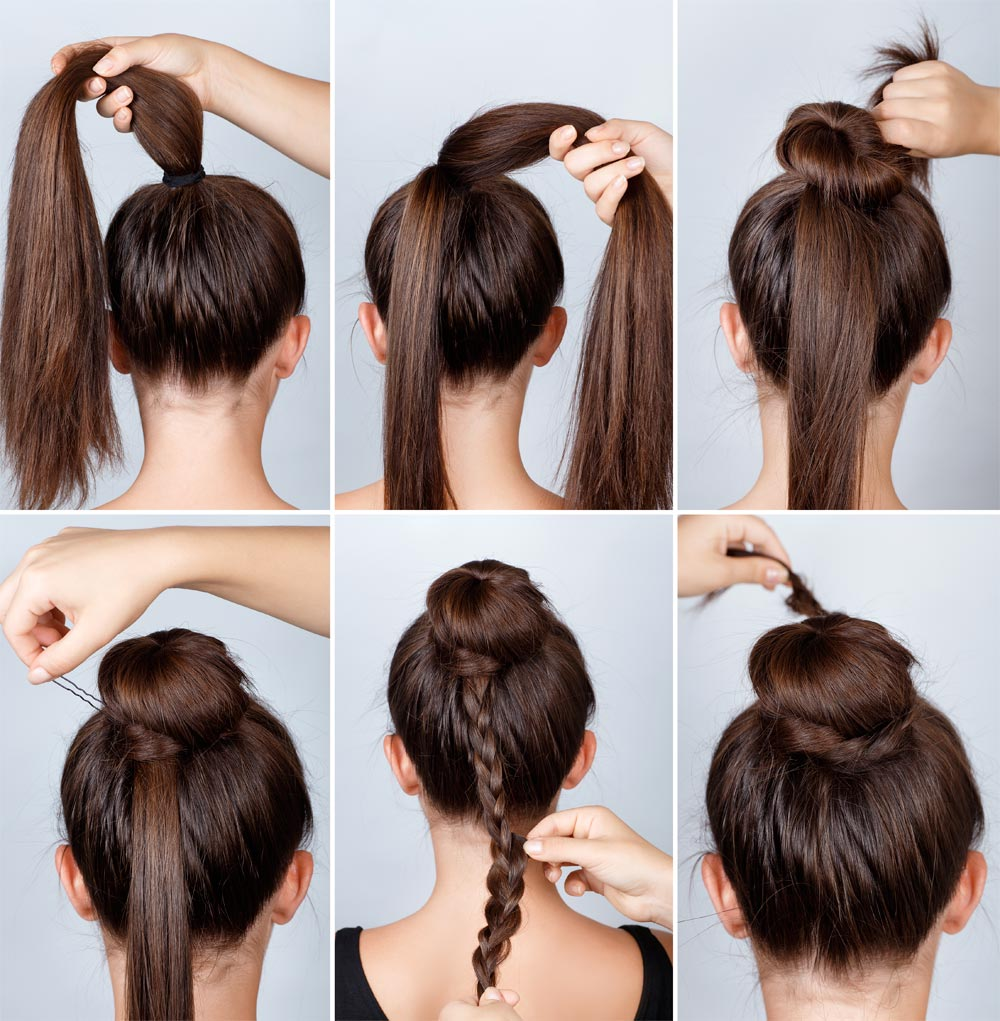 Chignon tutorial with braid