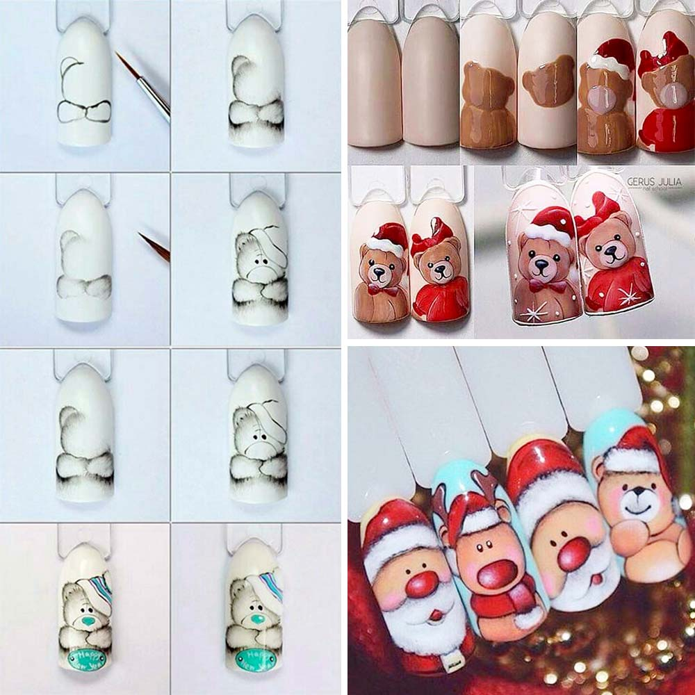 Nail art Christmas bears and Santa Claus