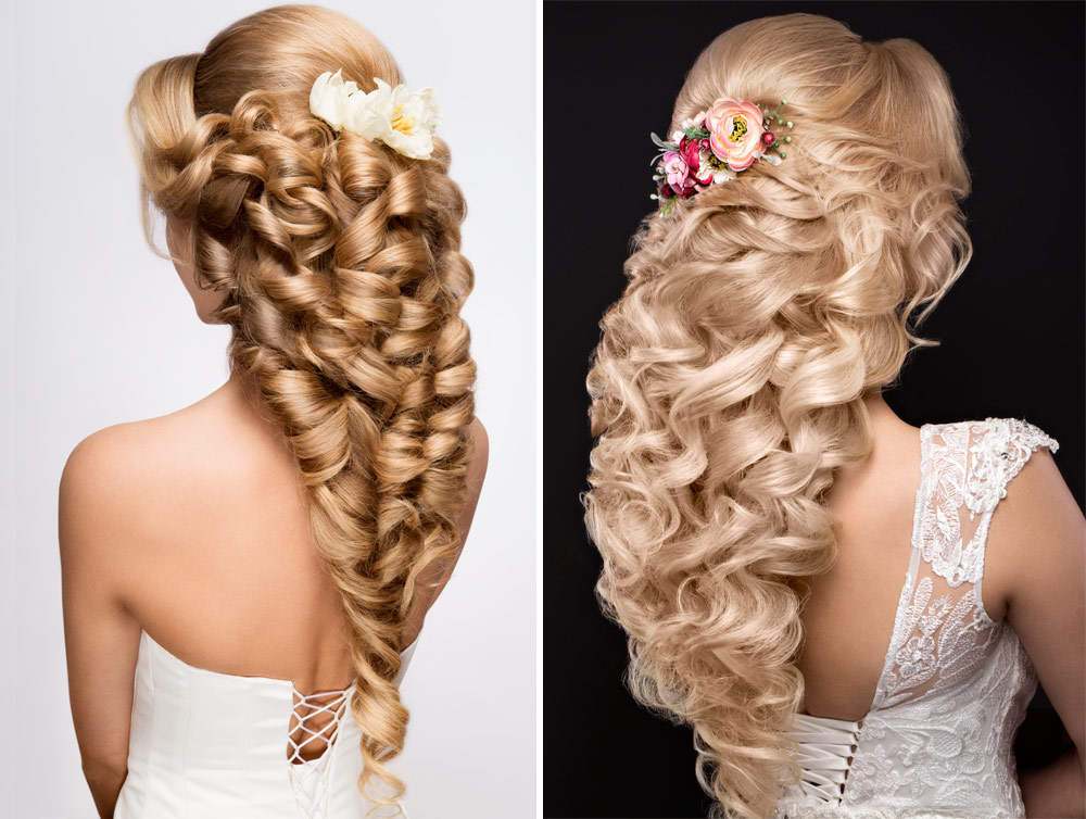 Hairstyle Bride Long Hair Flowers